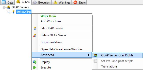 Configuring OLAP Security in the Jet Data Manager – Support