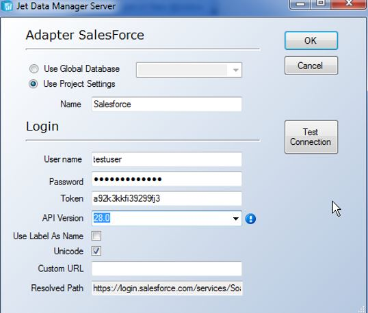Connect to Salesforce using the Jet Data Manager – Support