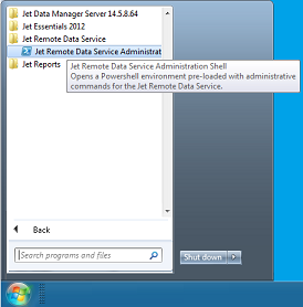 Launching the Jet Remorte Data Service Admin Shell