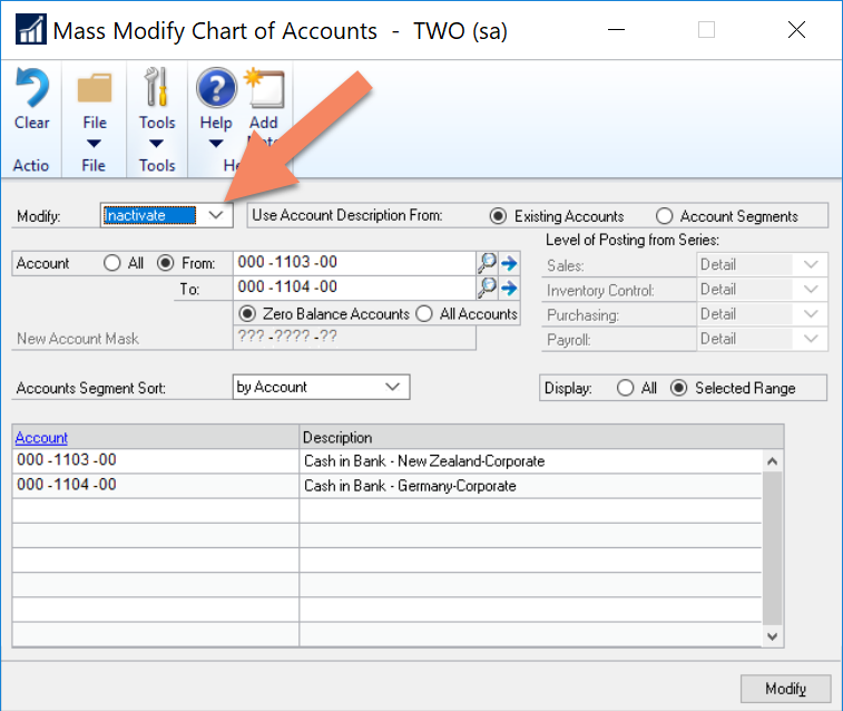 Speed up Dynamics GP reports by excluding inactive accounts