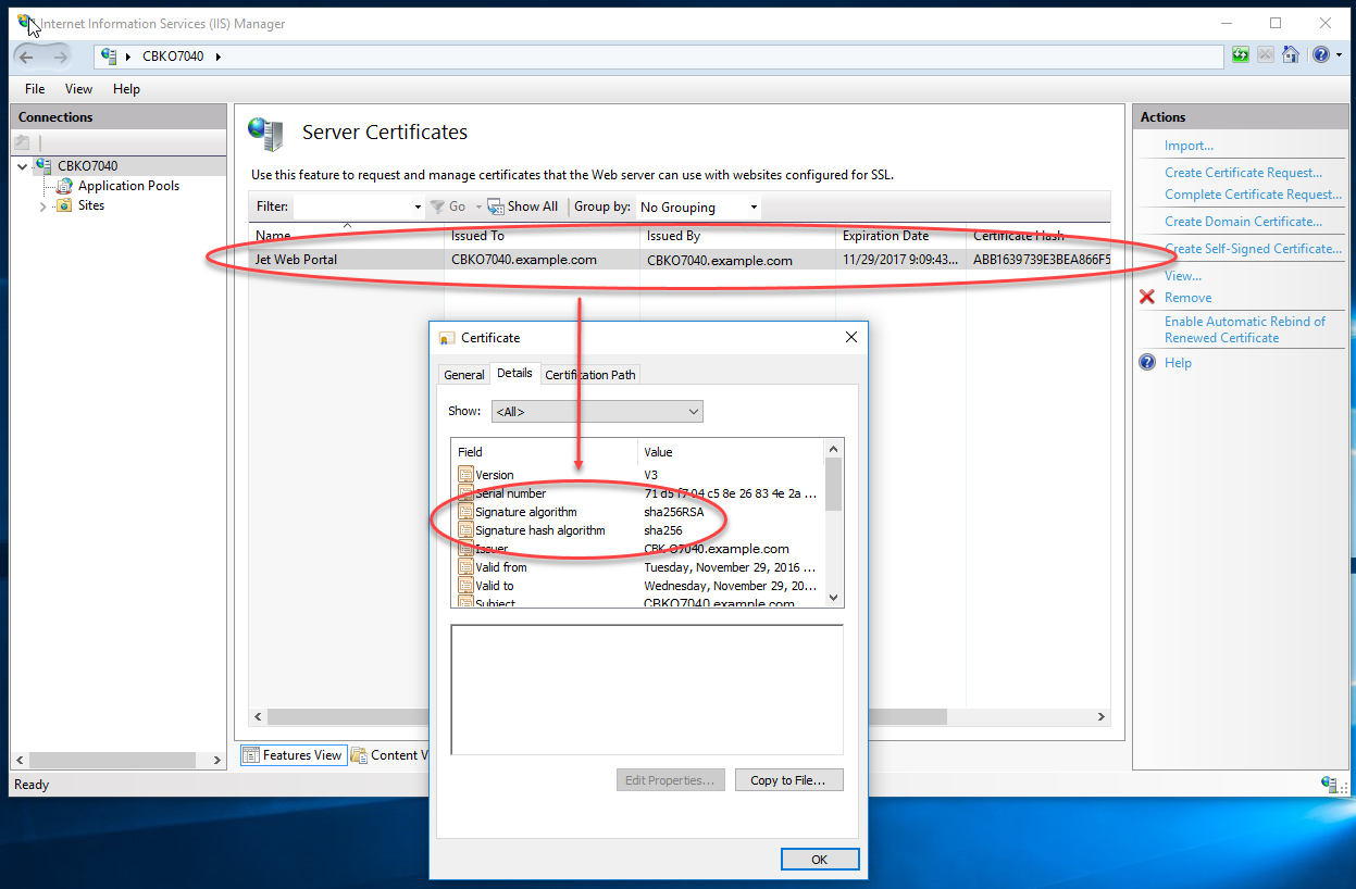 How to create a sha 256 self signed certificate support topics 14 in iis you can now see and use the self signed certificate with sha 256 as the ssl certificate xflitez Image collections